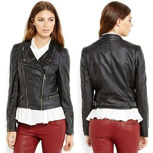 ABS Allen Schwartz Faux Leather Moto Biker Jacket